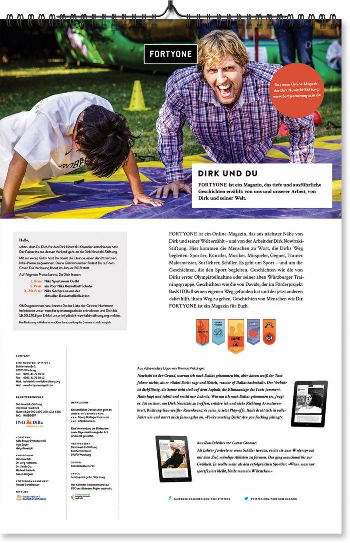 abenteuerdesign for Dirk Nowitzki-Stiftung | Dirk Nowitzki Kalender 2018